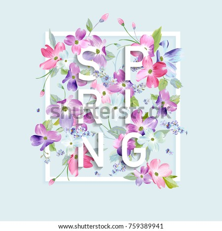 stock-vector-floral-spring-graphic-design-with-dogwood-blossom-flowers-for-fashion-print-poster-t-shirt