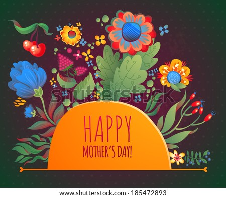 happy birthday or happy mothers day leaves flowers and drops for your romantic design