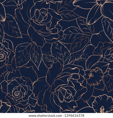 Floral spring seamless pattern. Rose peony daffodil narcissus bloom blossom leaves. Copper gold shiny outline navy dark blue background. Vector illustration for fashion, textile, fabric, decoration.