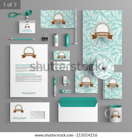 Floral stationery template design with blue leaves. Documentation for business.