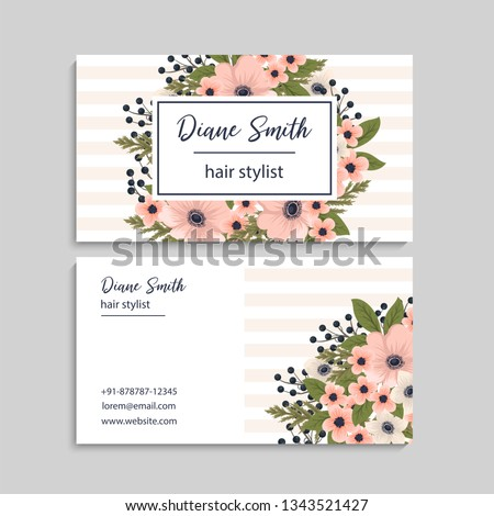 Floral style business card template vector #1343521427