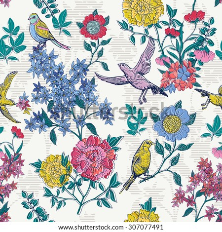 floral style pattern with birds