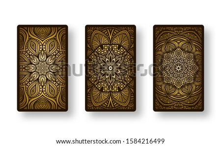 Floral stylized golden pattern. Collection back side of cards. Vector illustration