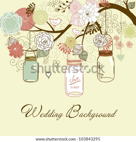 Floral summer background. Glass jars hanging from the brunch