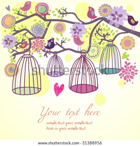 Floral summer composition. Birds out of their cages concept vector - stock vector