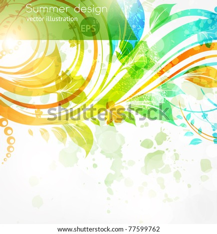 Floral summer design elements with sun shine. Flower abstract bright background for retro design. Vector.