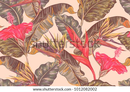 Floral summer seamless vector tropical pattern background with exotic flowers, palm leaves, jungle leaf, hibiscus, strelitzia, orchid, bird of paradise flower. Botanical illustration in Hawaiian style