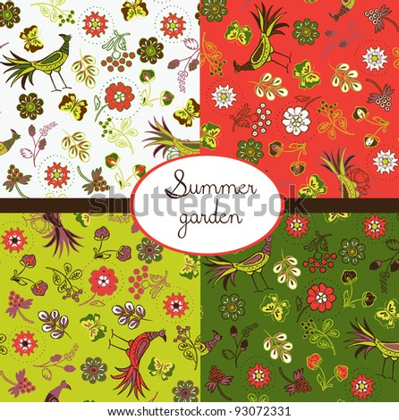 floral summery wallpapers - stock vector