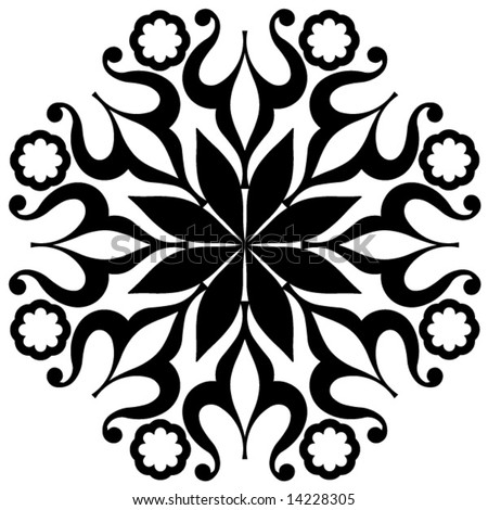 Collection Black And White Floral Set Of Arabesque Ornament For