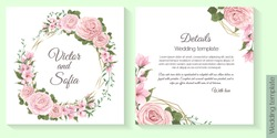 Floral template for wedding invitation. Pink roses, sakura, magnolia, green plants and flowers, gold polygonal frame.