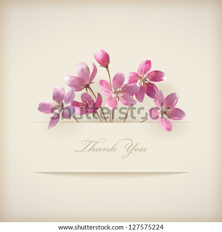 Floral \'Thank you\' card with beautiful realistic spring pink flowers and banner with drop shadows on a beige elegant background in modern style. Perfect for wedding, greeting or invitation design