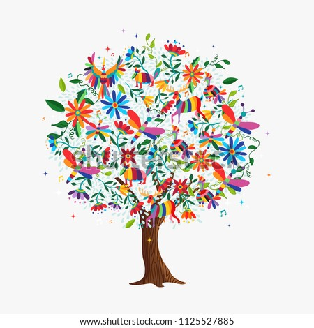 Floral tree made of colorful flower and animal icons in traditional mexican otomi art style. Springtime concept with daisy, deer, birds. EPS10 vector.