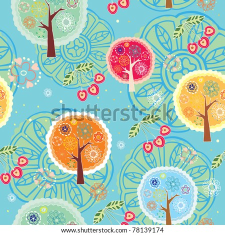 floral trees seamless pattern