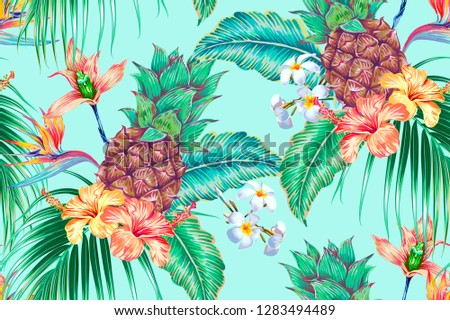 Floral tropical vector seamless pattern background with pineapples, exotic flowers, palm leaves, jungle leaf, orchid, bird of paradise flower. Botanical illustration in Hawaiian style