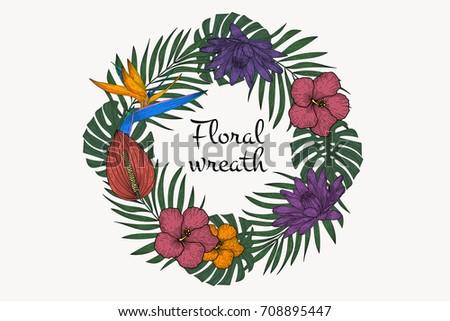 Floral tropical wreath. Vintage vector illustration.