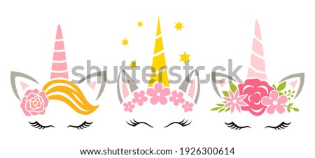 Floral unicorn faces. Unicorn head with flower crown and wreath for baby girl. Cute kids design. Print for shirts postcards and posters. Girly vector illustration