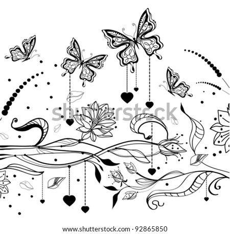 Floral Valentine background with butterflies, vector illustration