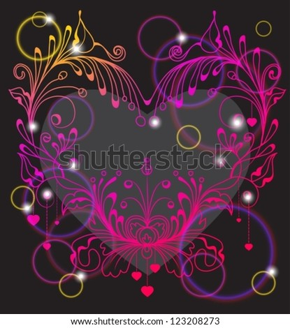 Floral Valentine background with heart for design, vector