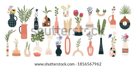 Floral vases. Blooming spring flowers, tropical leaves and herbs in jugs and teapots. Flat sunflowers, aster and protea flower vector set. Illustration vase with flower to decoration interior
