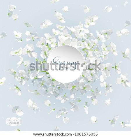 Floral vector art - luxurious white Hydrangea flower and Apple blossom composition with flying petals. Template for 8 March, wedding, Valentine\'s Day,  Mother\'s Day, sales and other seasonal events.