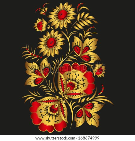 Floral vector background in traditional Russian Khokhloma style.  Yellow and red flowers. Vector EPS 10