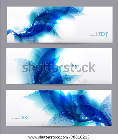 Floral vector background with blue elements