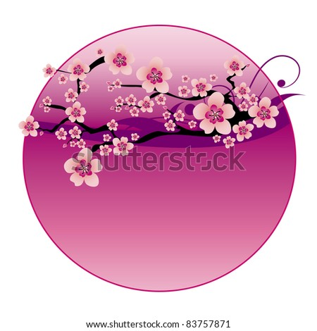 Floral vector background with cherry blossom and clouds