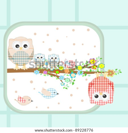 floral vector Background with couple of owls and birds sitting on branch tree