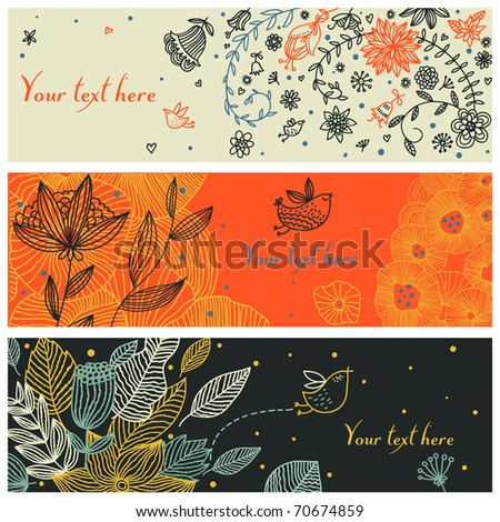 Floral vector banners with birds