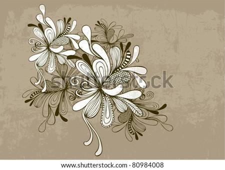 floral vector black & white