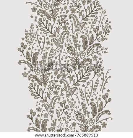 Floral vector border decor on light grey background
