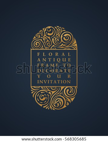 Floral vector calligraphic gold frame. Vintage lace design for wedding and greeting cards, valentines, invitations, advertising, place for text. Tattoo flourishes decorations illustration