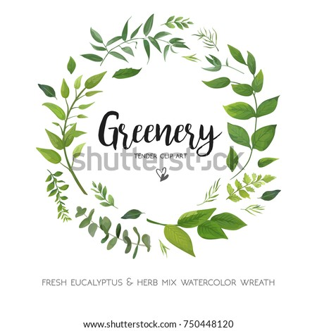 Floral vector card Design with green Eucalyptus fern leaves elegant greenery, herbs forest round, circle wreath beautiful cute rustic frame border print. Vector garden illustration, Wedding Invitation