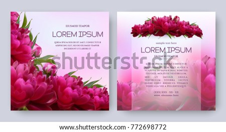 floral vector card set with
