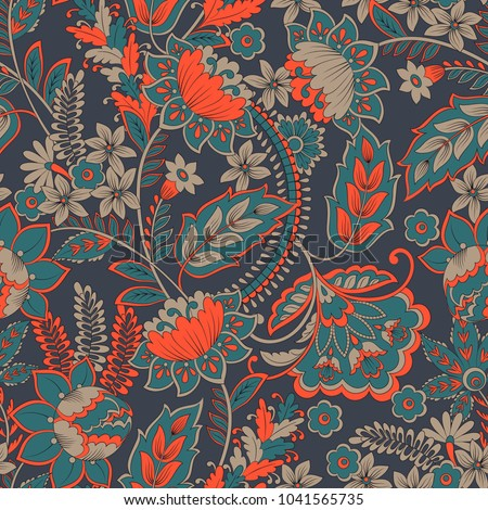 stock-vector-floral-vector-illustration-in-damask-style-seamless-vintage-background