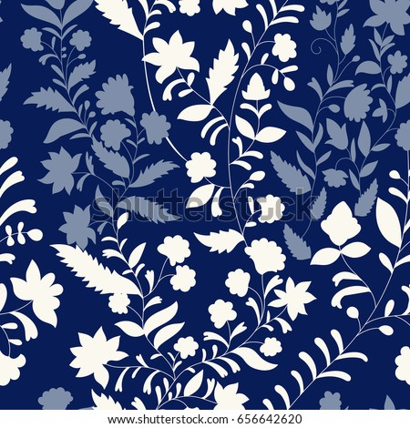 Floral vector pattern, three colors. Monochrome nature pattern. Contour plants. Seamless pattern. Branches silhouette, flowers, leaves