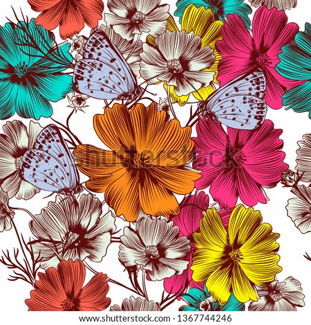 floral vector pattern with pink