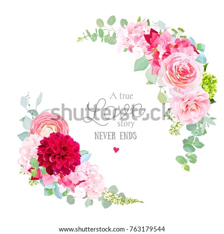 Floral vector round frame with pink rose, hydrangea, camellia, red dahlia, eucalyptus, ranunculus, green plants. Half moon shape bouquets. Wedding modern design, All elements are isolated and editable