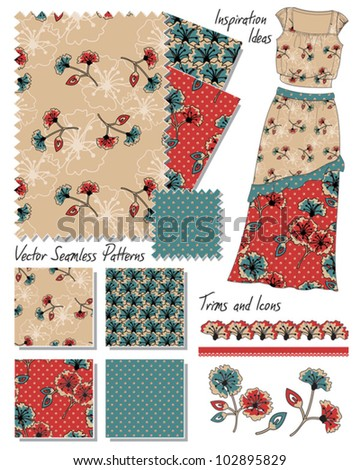 Floral Vector Seamless Fashion Patterns.  Use to create stunning textiles or use the fashion template to create your own.