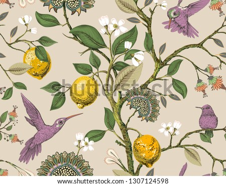 Floral vector seamless pattern. Botanical wallpaper. Plants, birds flowers backdrop. Drawn nature vintage wallpaper. Lemons, flowers, hummingbirds, blooming garden. Design for fabric, textile