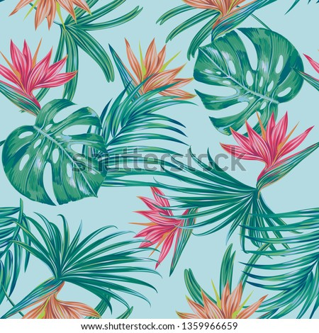 Floral vector seamless pattern with exotic flowers, tropical leaves, monstera leaf, bird of paradise flower. Vintage decorative background, hawaiian style print