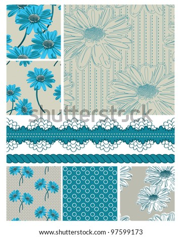 Floral Vector Seamless Patterns.  Great for use to print onto fabric or for digital paper and scrap booking.