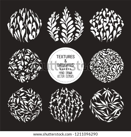Floral vector textures for ornamental label, organic branding, fashion textile and botanical prints. Hand drawn plants, herbs, leaves, stems backdrops. Botanical round pattern, plant ornamentation.