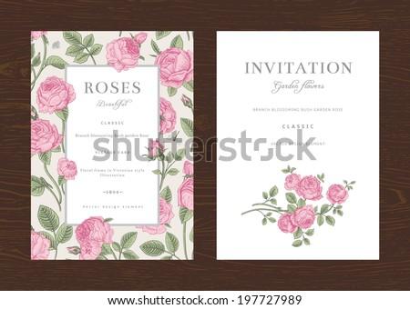 Floral vector vertical vintage invitation. Set. Pink Garden Roses.