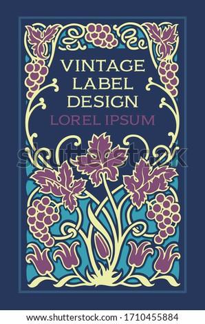 floral vector vintage label