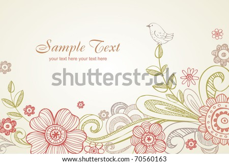 Floral vectro background, greeting card.  All elements separately, very useful for creation of any design