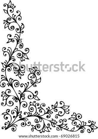 Floral vignette 423 Eau-forte decorative background texture vector illustration EPS-8