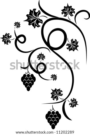 swirl tattoo Vector Illustration stock vector : Floral vine grape - design