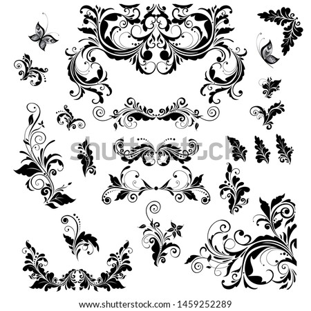 Floral vintage decor collection for wedding design, book titles, greeting card, invitations