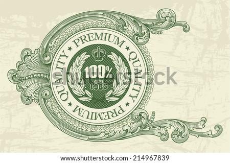 Floral vintage dollar frame as a premium quality stamp for vector design